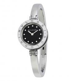 Bulgari Silver Black Dial Stainless Steel Watch