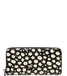 Black Graphic Floral Wallet