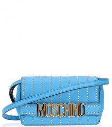 Moschino Light Blue Studded Mini Crossbody