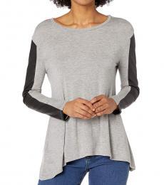 BCBGMaxazria Grey Long Sleeve Knit Top