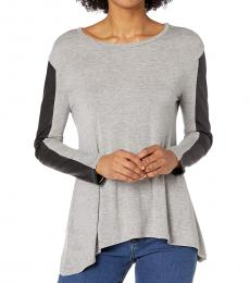BCBGMaxazria Grey Long Sleeve Knit Top