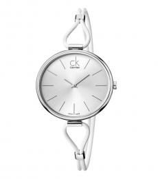 Calvin Klein White Leather Watch