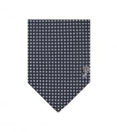 Versace Navy Silver Gingham Tie
