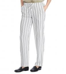 White Stripe Relaxed-Fit Straight Pants