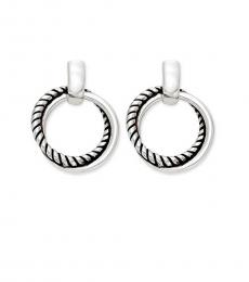 Silver-Black Twisted Link Earrings