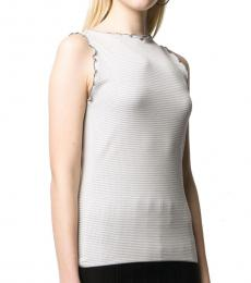Emporio Armani Quartz White Ruffled Sleeveless Top