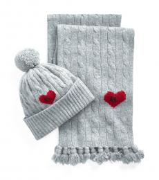 Ralph Lauren Fawn Grey Cable-Knit Beanie & Scarf Set