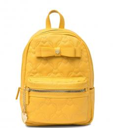 Mustard Quilted Heart Medium Backpack