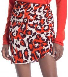Leopard Print Ruched Silk Skirt