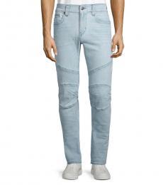 Light Blue Relaxed Skinny Moto Jeans