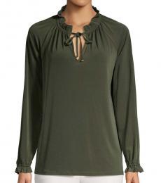 Olive Long-Sleeve Mockneck Top