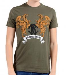 Roberto Cavalli Taupe Graphic Crewneck T-Shirt