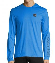 Calvin Klein Blue Long-Sleeve Logo Sweatshirt