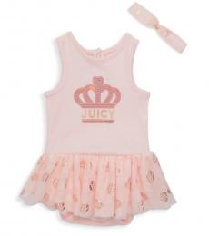 Juicy Couture Baby Girls Pink Embellished Logo Dress