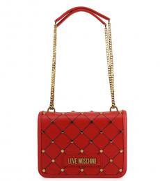 Love Moschino Red Criss-Cross Stitch Medium Shoulder Bag