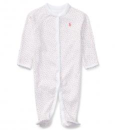 Ralph Lauren Baby Girls White Floral Coverall