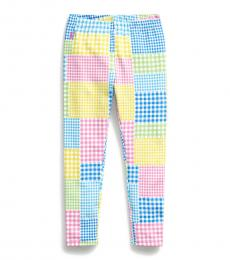 Ralph Lauren Little Girls Green Multi Mixed-Gingham Leggings
