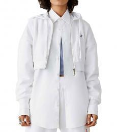True Religion White Graphic Crop Hoodie Jacket