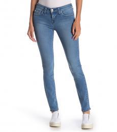 True Religion Light Blue Halle Stretch Mid Rise Skinny Jeans