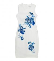 Calvin Klein White Multi Floral Scuba Sheath Dress