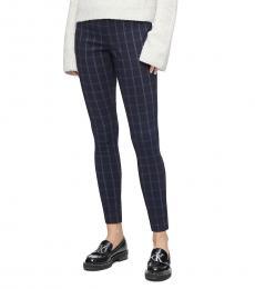 Calvin Klein Navy Blue Windowpane Plaid Pants
