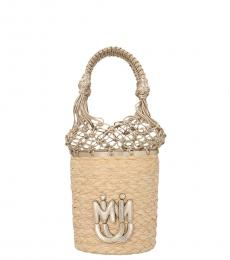 Miu Miu Beige Logo Small Bucket Bag