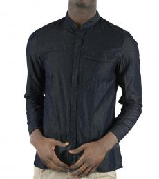 Emporio Armani Dark Blue Corean Collar Shirt