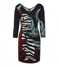 Just Cavalli Black Floral Print Dress