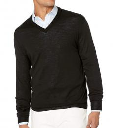 Canali Black V-Neck Wool Sweater
