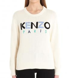 Kenzo Beige Logo Embroidered Sweater