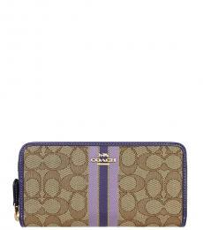 Coach Khaki Purple Zip-Around Wallet,