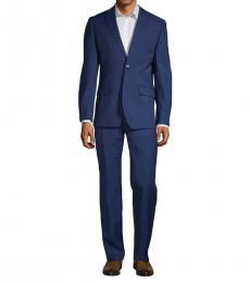Ben Sherman Dark Blue Slim Fit Stretch Wool Suit