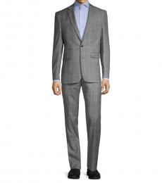 Vince Camuto Grey Slim-Fit Windowpane Wool Suit