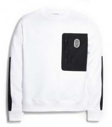 White Mixed Media Sweatshirt