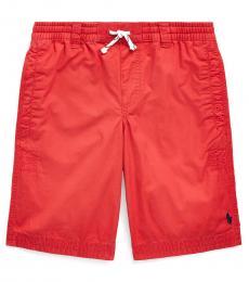 Ralph Lauren Boys Evening Post Red Twill Drawstring Shorts