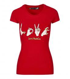 Love Moschino Red Comic Print Logo Tee