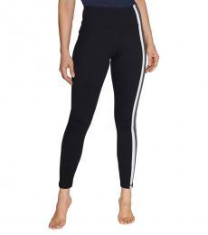 Betsey Johnson Black White-Side Stripes High-Rise Leggings