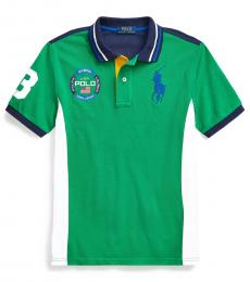 Ralph Lauren Boys Chroma Green Big Pony Mesh Polo