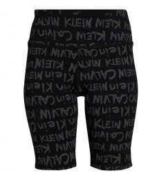 Calvin Klein Black High-Rise Brush Logo-Print Shorts