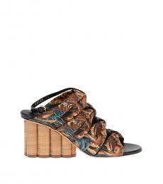 Salvatore Ferragamo Black Brown Floral Printed Heels