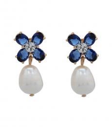 Tory Burch Blue-White Clover Drop Earrings