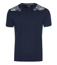 Cavalli Class Navy Blue Cheetah Print T-Shirt