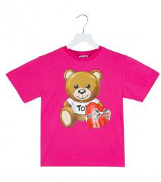 Moschino Little Boys Fuchsia Teddy T-Shirt