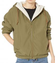 Billabong Olive Hooded Reversible Jacket