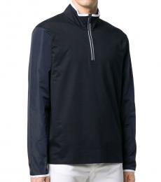 Michael Kors Navy Blue Mixed Media Half Zip Sweater