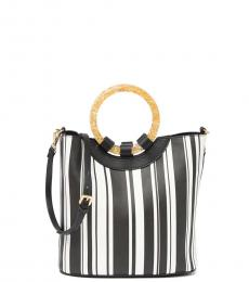 Betsey Johnson Black White Stripe Small Satchel