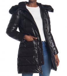 Michael Kors Black Faux Fur Trimmed Puffer Jacket