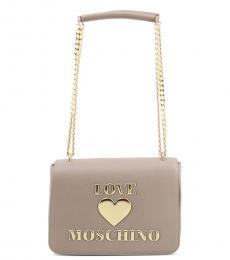 Love Moschino Grey Logo Medium Shoulder Bag