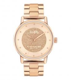 Coach Rose Gold Pave Crystal Watch