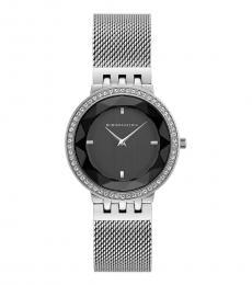 BCBGMaxazria Silver Crystal Black Dial Watch